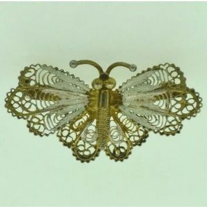 Vintage butterfly 800 silver 23 GE brooch pin
